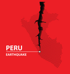 peru earthquake concept on cracked map vector image
