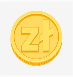 polish zloty symbol on gold coin vector image vector image