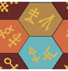 Seamless background with alchemical symbols vector