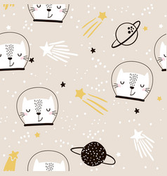 seamless childish pattern with cute cats vector image