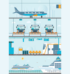 set of public passenger transport vector image