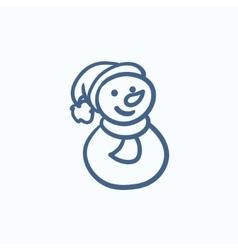 Snowman sketch icon vector image vector image