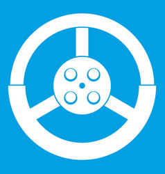 Steering wheel icon white vector