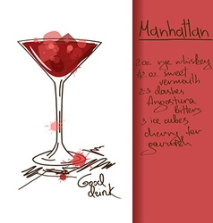 With manhattan cocktail vector