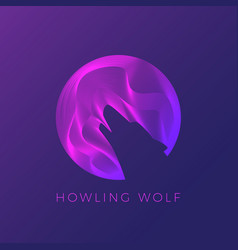 Wolf silhouette howling on the moon abstract vector