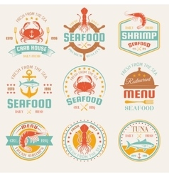 Seafood Colored Restaurant Emblems vector image