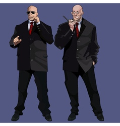 Cartoon funny large men guards in black suits vector