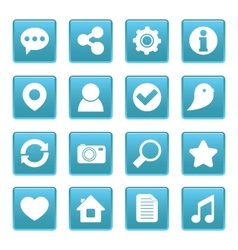 Social media icons on blue square vector