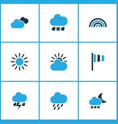 Meteorology colored icons set collection of cold vector