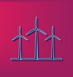 wind turbines sign  blue 3d printed icon vector image