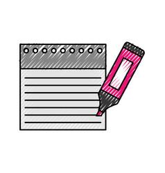 Notebook sheet with highlighter pen vector
