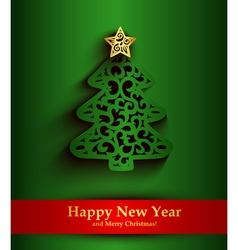 New year green greeting card with silhouette of vector