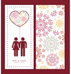 Folk floral circles abstract couple in love vector