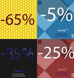 5 35 25 icon set of percent discount on abstract vector