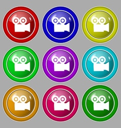 Video camera icon sign symbol on nine round vector
