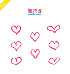Hand drawn oil pastel hearts vector