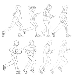 Drawing fleeing people vector