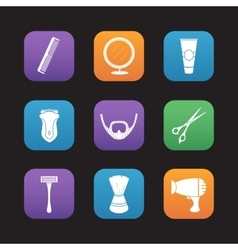Shaving flat design icons set vector