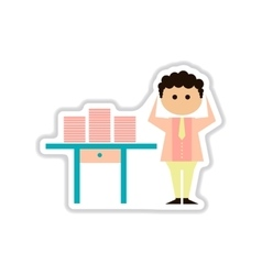 paper sticker on white background office worker vector image