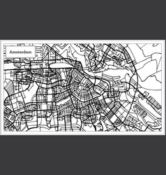 Amsterdam holland map in black and white color vector