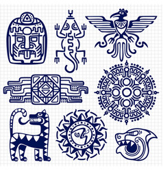 Ballpoint pen american aztec mayan culture native vector