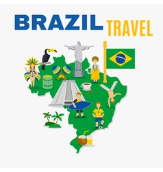 Brazil culture travel agency flat poster vector