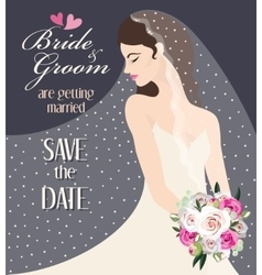 Bride with bouquet of roses vector