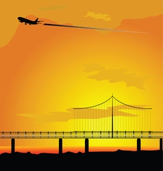 bridge with airplane nature vector image