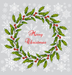 Christmas holly tree wreath vector