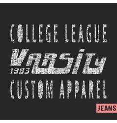 College league vintage stamp vector image