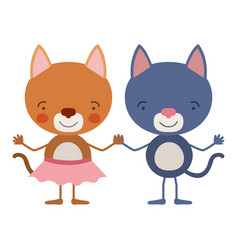 Colorful caricature with couple of kittens holding vector