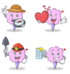 Cotton candy character set with explorer heart vector