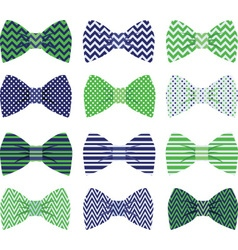 Cute navy and green bow tie collection vector