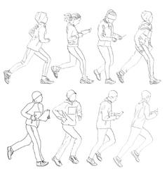 Drawing fleeing people vector