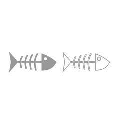 fish sceleton icon grey set vector image vector image