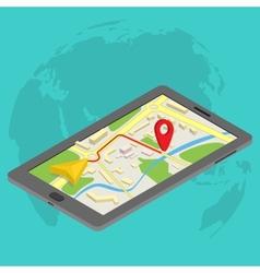 Flat 3d isometric mobile GPS navigation maps vector image