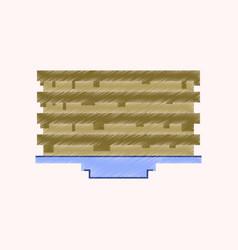 Flat shading style icon pixel pancake with jam vector
