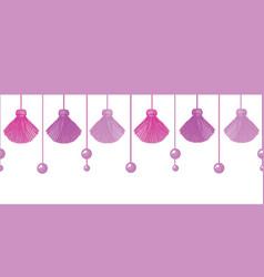 Fun pink decorative tassels set horizontal vector