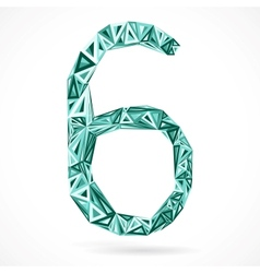 Geometric number six with triangles vector image