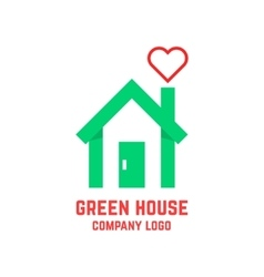 green house with line heart instead of smoke vector image vector image