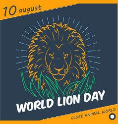 Holiday world lion day linear style vector