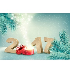 Natural winter background with 2017 sign and a vector