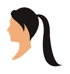 profile head woman with ponytail black hair vector image vector image