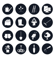 Round icons garden tools and equipment vector