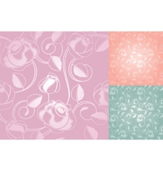 seamless roses pattern wallpaper set vector image vector image