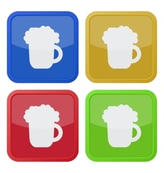 set of four square icons with beer vector image vector image