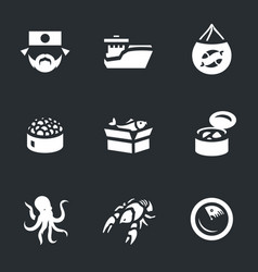 set of japan fishing icons vector image vector image