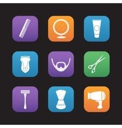 Shaving flat design icons set vector