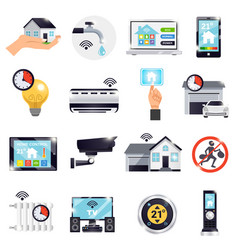 smart home icon set vector image