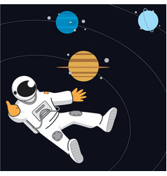 Space banner with astonaut neptune saturn vector